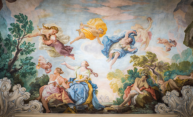 Ceiling design with art