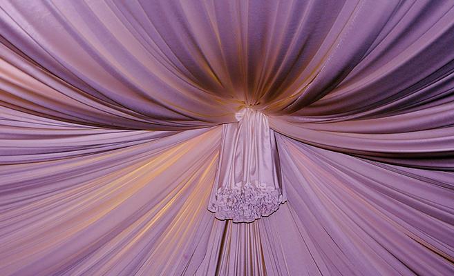 Ceiling design using fabric